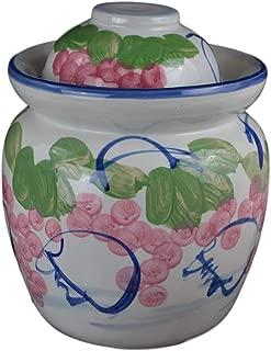 Medium Porcelain Pickling Jar 3 Liter with 2 Lids Fermenting Pickling Kimchi Crock Grape Jingdezhen Chinese Korean (Pink, 10.5