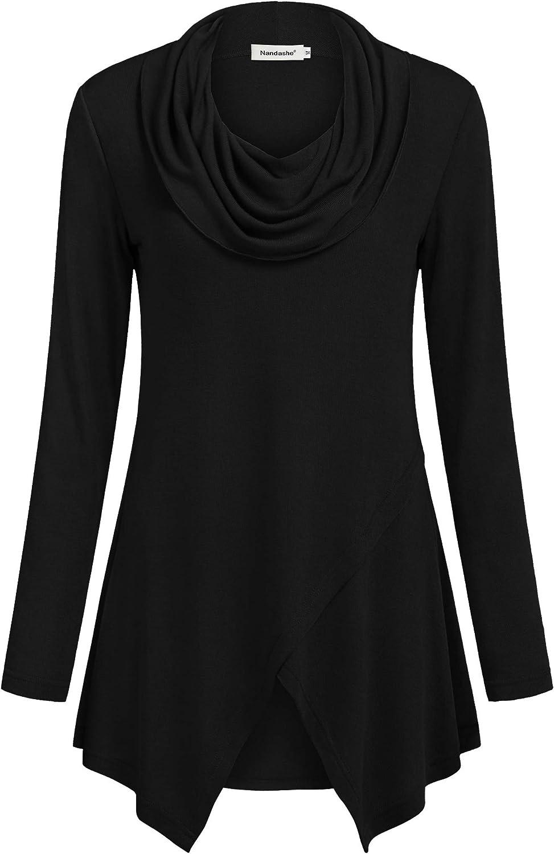 Nandashe Women Long Sleeve Tunic Shirt Cowl Neck Asymmetrical Blouse Casual Tops