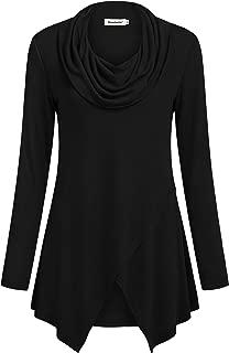 Women Long Sleeve Tunic Shirt Cowl Neck Asymmetrical Blouse Casual Tops