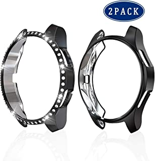 2 Pack Case for Samsung Gear S3, Haojavo PC Diamond Case Soft TPU Plated Protective Bumper Shell Protector for Samsung Gear S3 Frontier/Classical & Galaxy Watch 46mm Smartwatch Bands Accessories