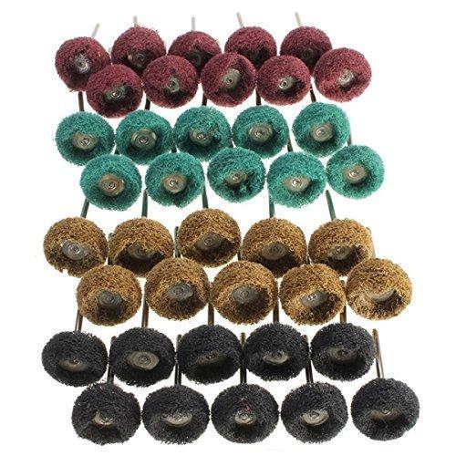Batreetek 繊維バフ4色 40個入り ホイール ナイロン T型 布ブラシホイール 3mm軸 研磨 剤 電動 ドリル ルーター ビット 4種 セット