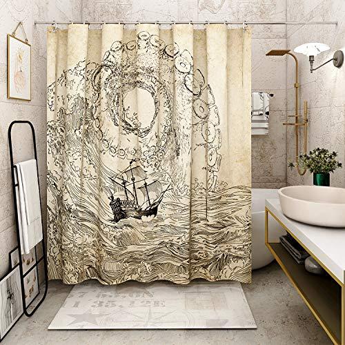 VODW Papageien-Duschvorhang, wasserfest, lebensechtes Tier, einzigartiges Design, Handzeichnungseffekt, Stoff, Duschvorhang, 177,8 cm, mit Haken 0008