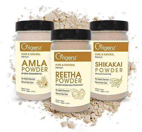 Origenz Premium Amla, Reetha, Shikakai Powder Combo Pack for Healthy Hair (100gm, Pack of 3)