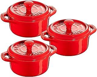 STAUB Ceramics Mini Round Cocotte Set, 3-piece, Cherry