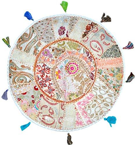 Magnifique pouf indien traditionnel rond en patchwork coloré 81,3 cm