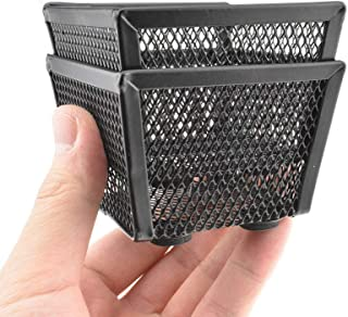 """HAHIYO Stackable Paper Clip Mesh Holder Cup 2.2"""" Height 2 Pack Black Sturdy Paperclip Holder Container for Desk Drawer Org..."""