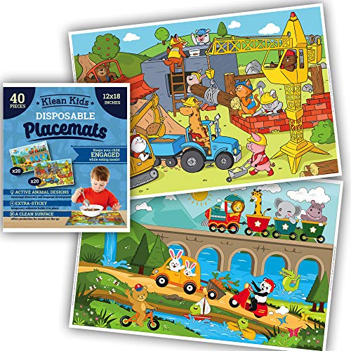 Animals On-The-Go Plastic Disposable Placemats for Boys, Baby, Toddler, Kids - Neat and Sticky Transparent Table Mat, Adhesive Table Topper Solutions for Travel, Restaurant, Airplane Tray (40 Pack)