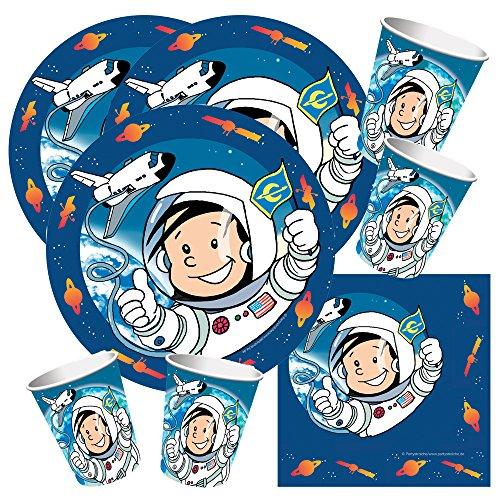 Juego de vajilla para fiesta de 52 piezas, diseño de astronauta