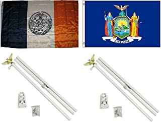 ALBATROS 3 ft x 5 ft City of New York with State of New York Flag with 2 White with Pole Kit Sets for Home and Parades, Official Party, All Weather Indoors Outdoors
