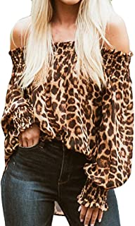 Mikey Store Women Leopard Print Off Shoulder Casual Top T Shirt Ladies Long Sleeve Blouse