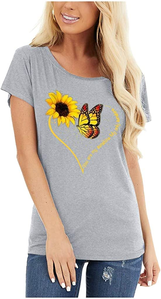 Hotkey T-Shirts for Women, Short Sleeve Crewneck Tops Butterfly Sunflower Heart Print Tee Casual Blouse Shirts for Ladies