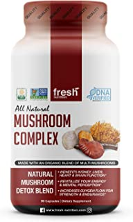 Mushroom Supplement DNA Verified Strong Organic 1650MG Blend Immune System Support & Nootropic Brain Booster with Cordyceps Extract, Lions Mane, Reishi Stress Relief, Wellness Natural Energy Formula