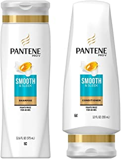 Pantene Pro-V Smooth & Sleek Shampoo and Conditioner Set, 12.6 Fl Oz and 12 Fl Oz (Set Contains 2 items)