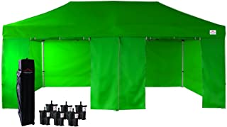 UNIQUECANOPY 10'x20' Ez Pop Up Canopy Tent Commercial Instant Shelter, with 4 Removable Zippered Side Walls and Heavy Duty Roller Bag, 6 Sand Bags Green