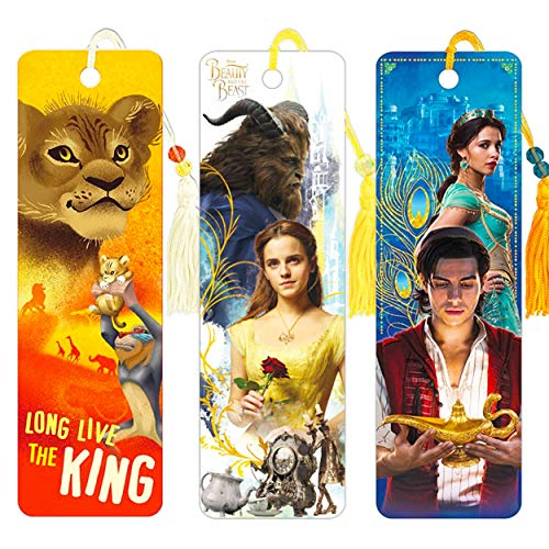 Disney Bookmark for Adults Kids Bundle - 3 Pc Disney Live Action Movie Bookmark Set Featuring Aladdin, Beauty and The Beast, Lion King (Disney School Supplies)