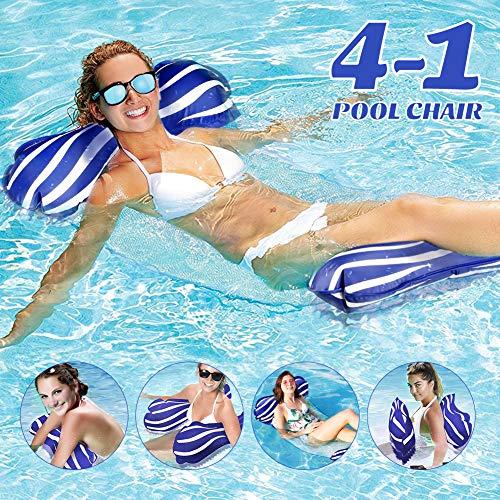 Gifort Aufblasbare Hängematte, Wasser Hängematte 4-in-1 Luftmatratze Schwimmende Wasser Bett Matte Swimmingpool Beach Float Aufblasbare Kopf für Erwachsene und Kinder