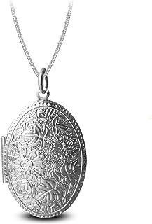 3f7daf246a26d AmDxD Photo Pendentif Ouvrant Modèle de Fleur Ovale Femme Homme Pendentif  Collier Or/Argent Cadeau