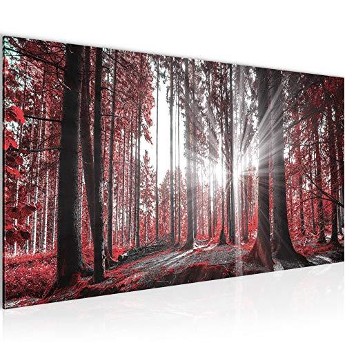 Wandbilder Wald Landschaft Modern Vlies Leinwand Wohnzimmer Flur Sonne Rot 503812c