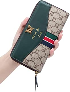 LeDuruo Womens Wallets Leather Large Capacity Wallet Clutch Long Zip Around Wallet Purse