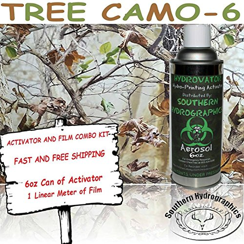 Hydrographics Film - Hydro Dip Film- Hydro Dip Film Kit - Hydrographic Film - Water Transfer Printing - Hydro Dipping - 6oz. Activator with Tree Camo-6 Kit