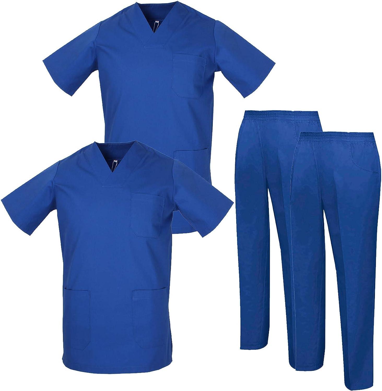 Pack * 2 Pcs Misemiya Ensemble Uniformes Unisexe Blouse Uniforme M/édical avec Haut et Pantalon Ref.2-8178