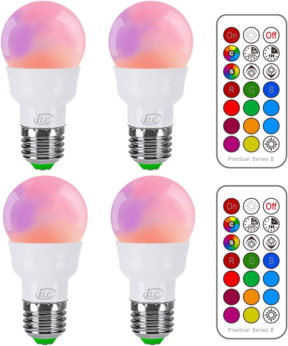 iLC Bombillas Colores RGBW LED Bombilla Cambio de Color 5W E27 Edison - RGB 12 Color - Control remoto Incluido (Pack de 4)
