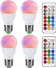 iLC Edison Gloeilamp met afstandsbediening, kleurverandering, gekleurde lamp, dimbare gekleurde lampjes, 5 W, E27 RGB, 12 ...