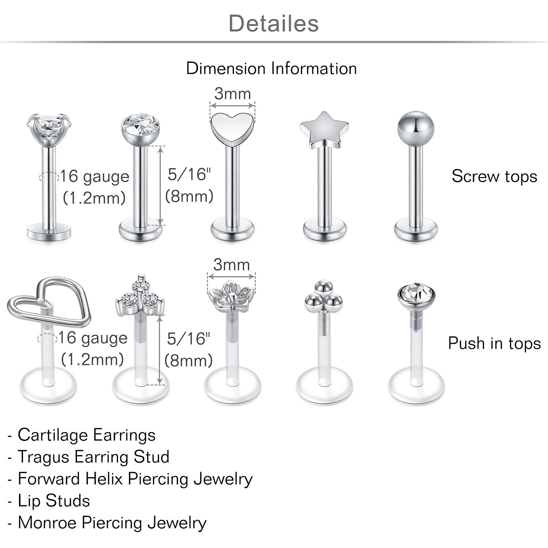 MODRSA 16G Forward Helix Earring Cartilage Tragus Earrings Stud 8mm 6mm Stainless Steel & Clear Flexible Lip Rings Labret Studs Monroe Piercing Jewelry for Women Men