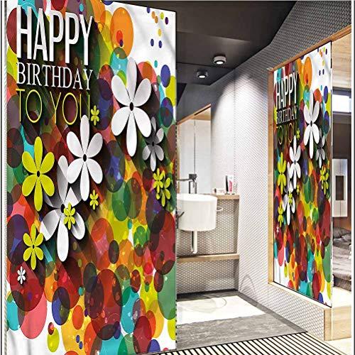 "Glass Sticker Window Film Bathroom Glass Film Static Cling Window Glass Sticker for Home W 23.6"" x L 78.7"" inches Birthday,Daisies Dots Best Wish"
