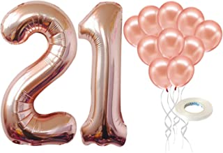 Rose Gold 21st Birthday Balloons Set – Large, 40 Inch | Rose Gold Number 21 Balloon with Latex Balloons, Pack of 10 | 21 Y...
