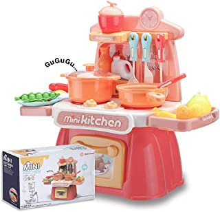 wodtoizi Kids Kitchen Playset Cooking Toys Set w Realistic Sounds and Lights Mini Chefs Pretend Play Dessert Food Assortme...