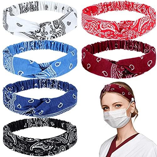 Zeaye 6 diademas de botón boho con nudo de cabeza, banda elástica tejida, adecuada para enfermeras, médicos, diadema elástica trenzada, accesorios para el cabello