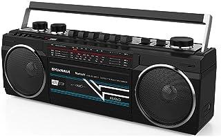 SYLVANIA SRC232BT-BLACK Bluetooth Retro Cassette Boombox with FM Radio (Black) (Renewed)