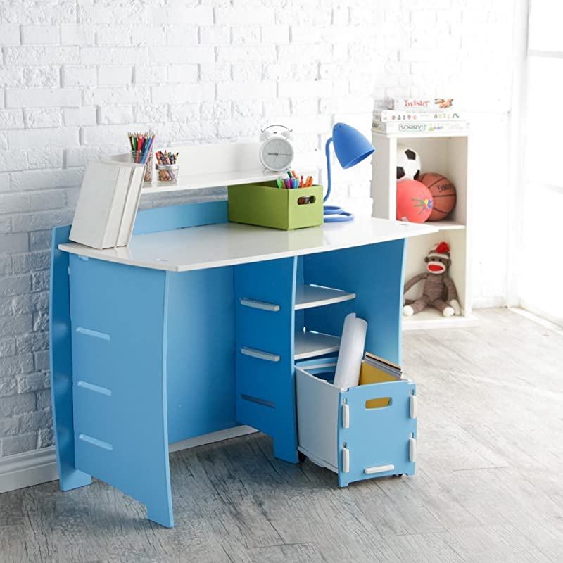Legare 43 In Desk With Shelf And File Cart Blue And White