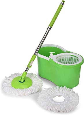 Speedex 360 Spin/Spinning Mop Bucket Floor Cleaning System with 2 Microfiber Head Refills, Green Colour