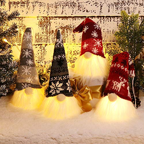 XAMSHOR Handmade Christmas Gnome Tomte with Light, Plush Elf Scandinavian Santa with Bendable Nordic Hat for Home Table Decorations Gift Set of 4
