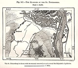 The Quarries of The St Pietersberg. Maastricht. Netherlands. Sketch map - 1885 - Old map - Antique map - Vintage map - Printed maps of Netherlands