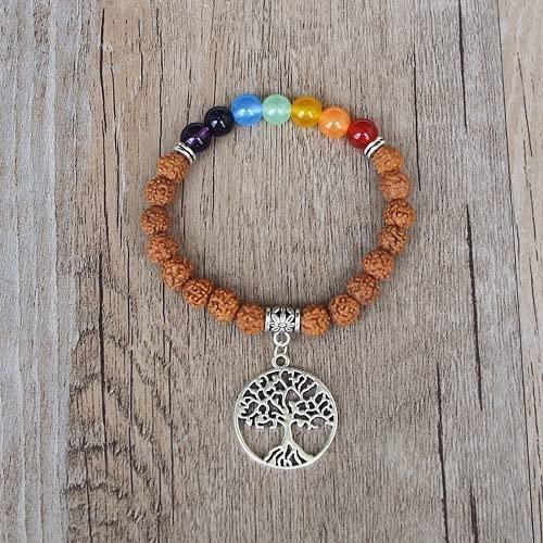 JONJUMP Rudraksha Bodhi - Pulsera de madera con cuentas budistas de siete chakras, árbol de la vida, yoga, curación, rezar, mala, pulsera