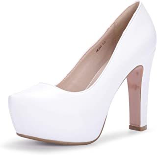 IDIFU Women's IN5 Eva Classic Chunky High Heel Platform Dress Pump Shoes Round Toe Slip on Wedding Party Shoes White Size: 5