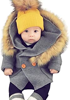 Hoodie Sweater Coat,Leegor Toddler Baby Boys Girls Faux Fur Collar Knitted Tops Warm Jacket Clothes