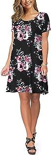 Women Cotton Casual Loose Dress T Shirt Dresses Knee Length Short Sleeve Swing Dress with Pockets