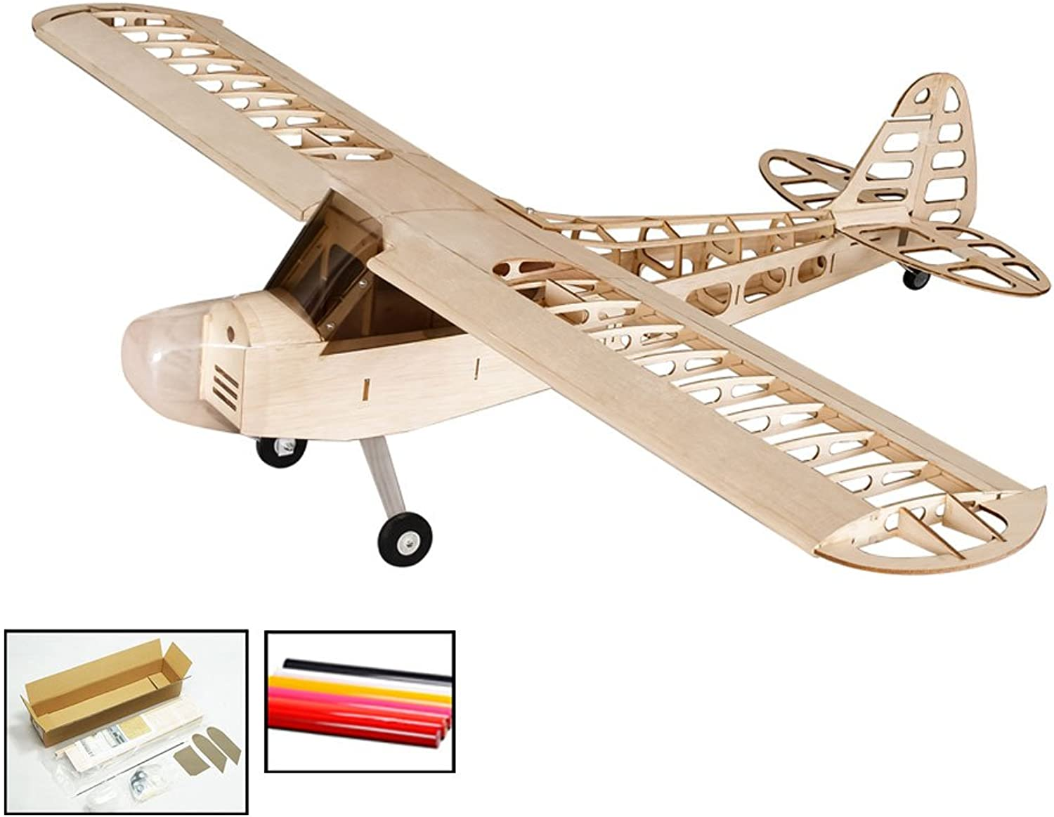 DW Hobby Balsa Wood Electric Airplane 1.2M J3 LaserCutting Remote Control Aeroplane Kits to Build RC Unassembled Model Aircraft for Fun (S0801B)