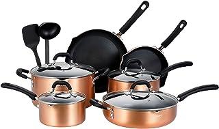 EPPMO Juego de Cocina Utensilios de Cocina de Aluminio Antiadherente Sartenes, Ollas, Cacerolas y Cazuelas con Tapa, Todo Tipo de Cocinas Incluido Inducción sin PFOA,12 Piezas de Color Cobre Copper