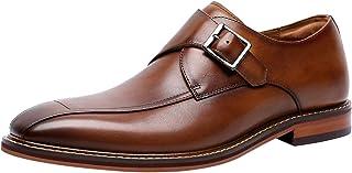 Santimon Chaussures Monk Homme à Boucle de Ville en Cuir Derby Casual Business Chaussure Habillées Loafer Noir Marron