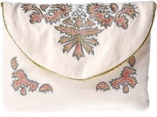 Ichi Clutche for Women - Cotton, Shell (Multi Color)