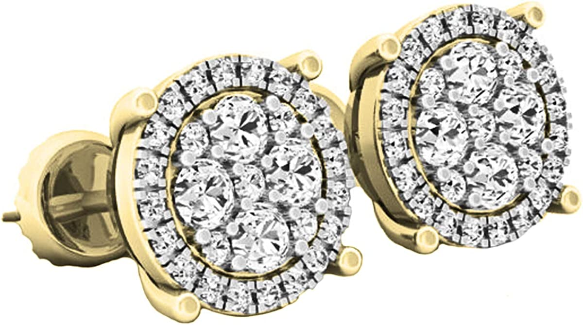 Dazzlingrock Collection 0.40 Carat (ctw) 10K Gold Round Lab Grown White Diamond Ladies Cluster Flower Stud Earrings
