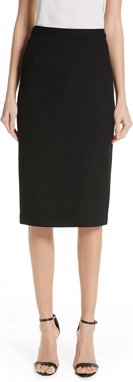 St. John Womens Black Textured Below The Knee Pencil Wear to Work Skirt Size 8