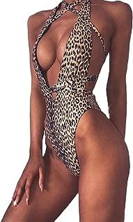 Women Leopard Print One Piece Swimsuit Swimwear Bandage High Cut Monokini Bathing Suit