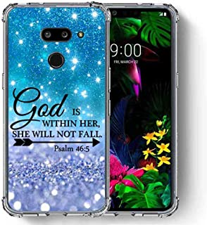 for LG G8 ThinQ Case, SuperbBeast Ultra Slim Thin Protective Case w/Reinforced Corners Vector Floral Flowers Polka Dots [Glitter Pattern]