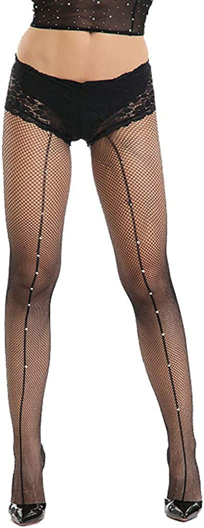 Yokawe Sparkly Fishnet Stockings Black Glitter Rhinestone Nylon Sheer High Waist Mesh Tights Pantyhose for Women and Girls